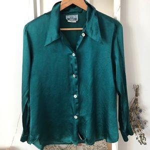 Emerald green satin vintage blouse